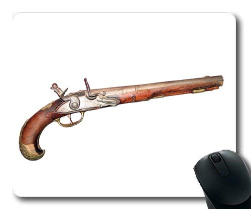Comfortable Mouse Pad,Pistol and Stamen,Old Gun,Mouse Pad with Stitched Edges