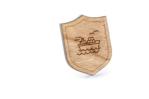 Freighter Lapel Pin, Wooden Pin And Tie Tack | Rustic And Minimalistic Groomsmen Gifts And Wedding Accessories