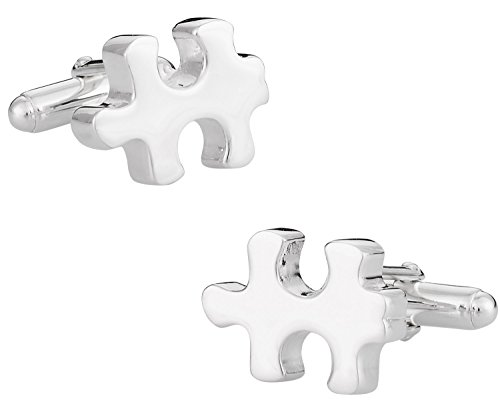 (Solid 925 Sterling Silver Autism Awareness Puzzle Piece Cufflinks with Presentation Box)