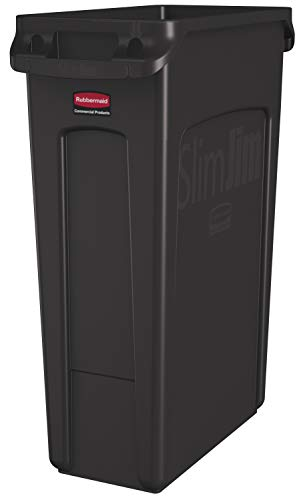 Rubbermaid Commercial Products Slim Jim Plastic Rectangular Trash/Garbage Can with Venting Channels, 23 Gallon, Brown (1956187)