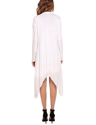 Maglione Bianco Manica Cardigan Lunga Maxi Maglia Donne Asimmetria Meaneor Lungo 6z5xwOqtC