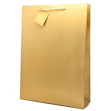 Extra Large Gold Gift Bags 46 x 33 x 10 cm (Pack of 2): Amazon.co ...