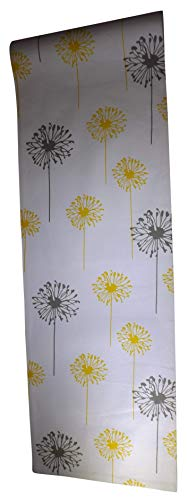 Crabtree Collection Deluxe Cotton Table Linens, Bright Colors for Kitchens and Dining Rooms - (Yellow/Gray Dandelion 12x72 Runner) ()
