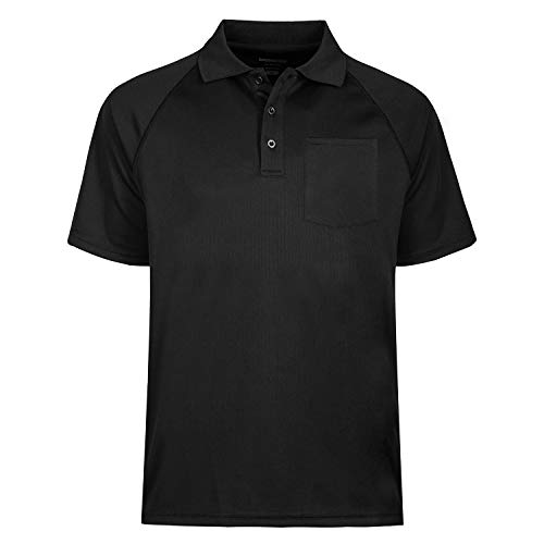 TIHEEN Men's Moisture Wicking Short Sleeves Polo Shirt with Pocket (Black XL) (Big And Tall Polo Shirts With Pockets)