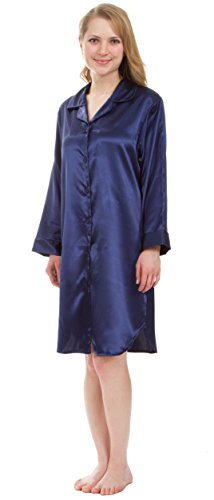 Leisureland Women's Stretch Satin Nightshirt, Boyfriend Style Sleep Shirt (X-Large, Navy (Womens Satin Nightshirts)