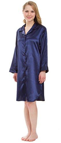 Leisureland Women's Stretch Satin Nightshirt, Boyfriend Style Sleep Shirt (X-Large, Navy Blue)
