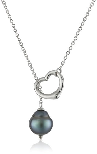Heart Shape Tahitian Cultured Pearl Chain Pendant Necklace (9-11mm ) (Tahitian Pearl Heart)
