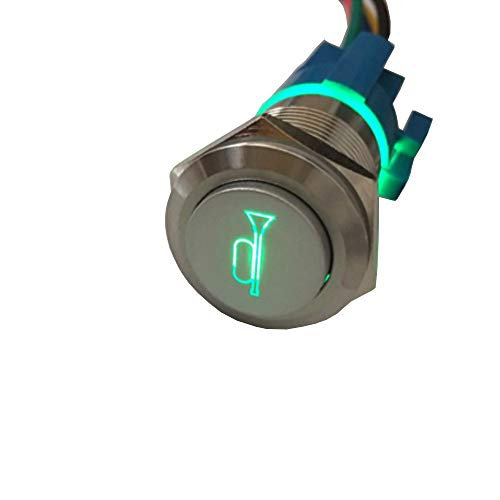 Etopars 12V 5A Car Motor Green LED Light Momentary Speaker Horn Bells Push Button Stainless Steel Metal Switch Toggle 19mm Socket Plug - Button Illuminated Green Push