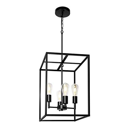 MIPAWS 4-Light Chandelier, Black Industrial Lighting Fixture Farmhouse Rustic Pendant Light for Dining Room, Kitchen…