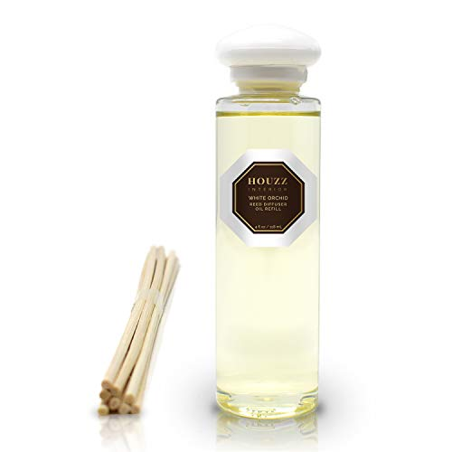 HOUZZ Interior Reed Diffuser Refill Oil White Orchid Room Scent with Reed Sticks! White Lilies & Spring Moss Fragrance Made with All Natural Essential Oils – No Sulfates or Parabens – Easy to Use