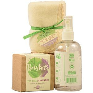 Baby Bits starter kit set - 1 Box of Baby Bits Wipe Solution, 1 Baby Bits Spray Bottle and 4 OsoCozy Organic Flannel Cotton Wipes