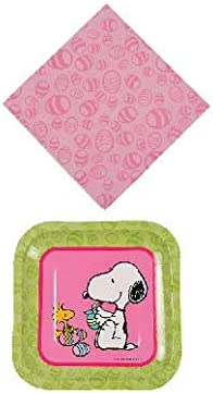 Snoopy Plates and Napkins 16 pc Peanuts Easter Table Decorating Kit Easter Snoopy Party Supplies Peanuts table cloth plastic Peanuts Easter Banner