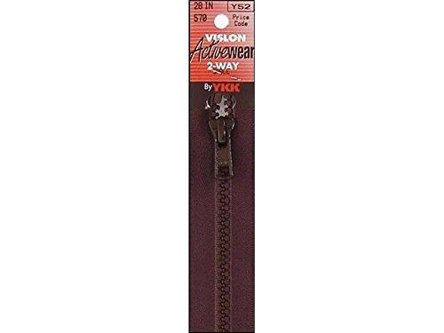"YKK Vislon 2-Way Separating Zipper, 28"", Sable Brown"