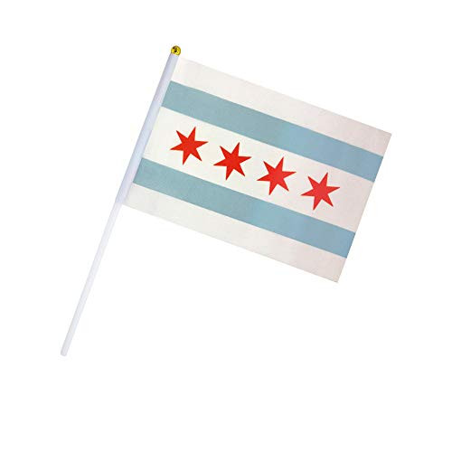 Kind Girl 50 Pack Hand Held Chicago Flag City of Chicago Flag State Flag Stick Flag Small Mini Flag,Party Decorations Supplies for Parades,Sports Events, Celebration,School -