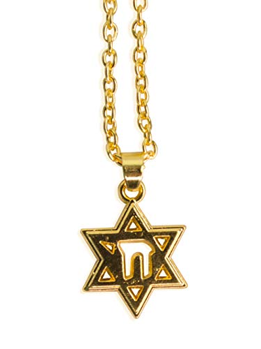 JP-Squared Co Gold Star of David Chai Necklace, 18K Gold Plated Jewish Star Necklace Pendant (Chai Star of David)