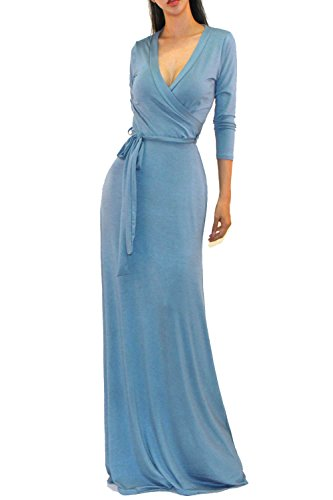 Vivicastle Women's Solid V-Neck 3/4 Sleeve Faux Wrap Waist Long Maxi Dress (Medium, Blue Steel)