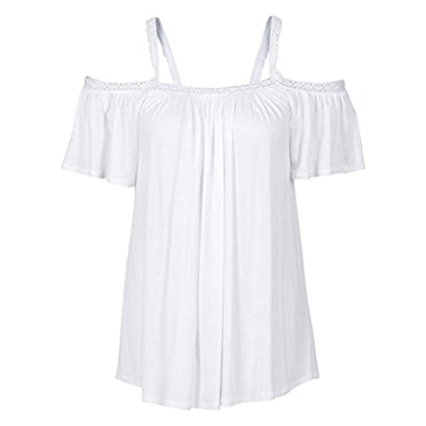 Women's Tops, Neartime Lace Off Shoulder Blouse Summer Short Sleeve T Shirt (S, White) - Beauty White T-shirt