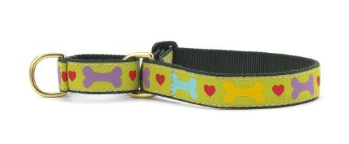 Heart & Bone Martingale Dog Collar - Medium (12.5-20 Inches) - 1 In Width