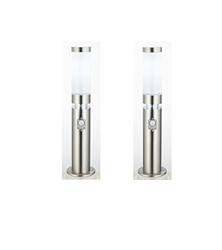2 x Edelstahl LED Außenleuchte Sockelleuchte Stella mit Bewegungsmelder, Außenlampe Wegeleuchte
