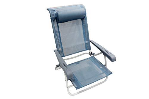 Homecall Beach Folding chair with blue textilene 7 position adjustable