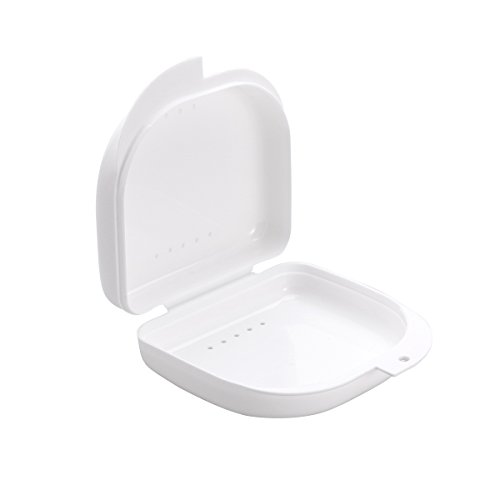 - ROSENICE Retainer Case With Vent Holes and Hinged Lid Snaps Mouth Guard Case Orthodontic Dental Retainer Box in White.