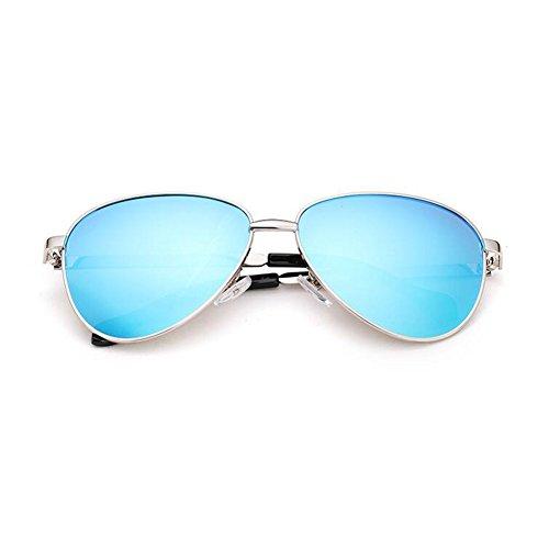 UVA Sra Decoración Silver Solar Marco Protección Retro Color Anti Black WYYY Black 100 gafas Luz Polarizada Redondo Gray Clásico de sol UV blue Protección txwW4ABq6v