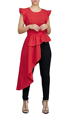 Womens Blouses and Tops Asymmetric Ruffle Side Sleeveless High Neck Peplum Club Tank Dress Red 12 14 -