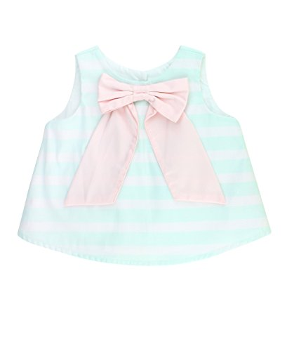 - RuffleButts Baby/Toddler Girls Aqua Sateen Stripe Swing Top - 2T