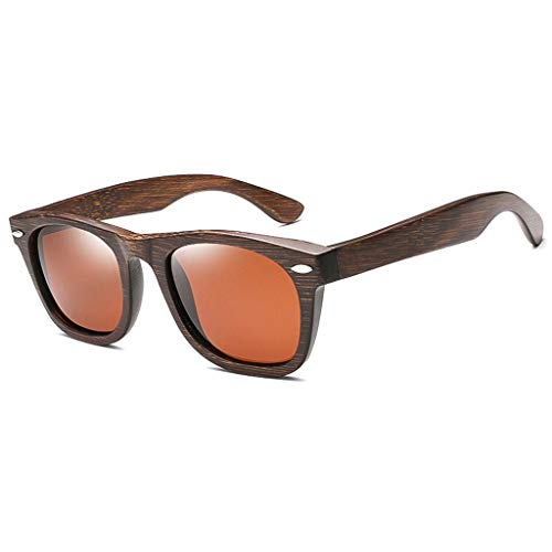 de Vidrios Oscuro de los Hombres de Madera sol los Remaches Gafas Gafas de Purple Americana Color polarizados de y Madera bambú Marron bambú FwtnBqYxz