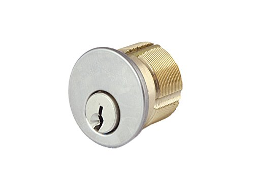 Satin Chrome Cylinder (Kenaurd Premium Mortise Cylinder with Cover Ring included, Satin Chrome (US26D), 1-1/4″, SC1 Keyway)