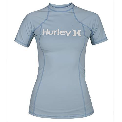 Juniors Short Sleeve Rash Guard - Hurley Junior's Sun Shirt Rashguard SPF 50+ Protection, Ocean Bliss//White, XL