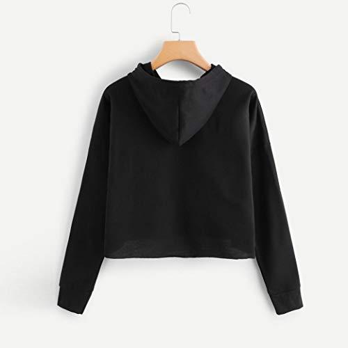 IEason-Women top Womens Long Sleeve Letter Print Drawstring Hoodie Raglan Sweatshirt