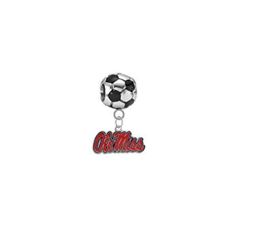 Ole Miss Mississippi Rebels Soccer 3D Universal European Bracelet Charm