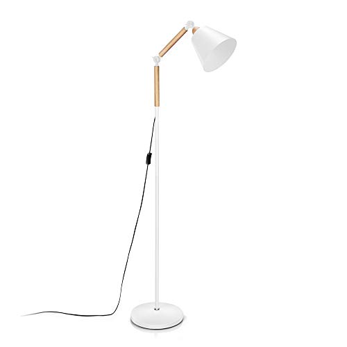 Adjustable Floor Standing Lamp, Vintage Swing Arm Floor Lamp with E26 Sized Screw Base(LED Bulb not Included), Reading Lamp with Heavy Base for Reading/Relaxing/Working, Metal+Wood by ominilight