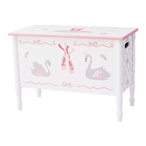 Fantasy Fields TD-12720A Ballerina Toy Chest Hand-Crafted & Hand-Painted Kids Wooden Furniture, Pink/ White/ Swan Lake