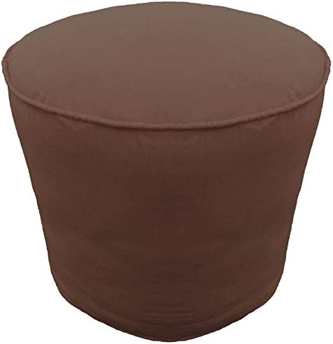 Round Pouffe Cover with Piping Ottoman Footstool Cover Cotton Brown 32 Diameter x 16 Height 81 cm Diameter x 40 cm Height Cover ONLY, Not Stuffed, Insert not