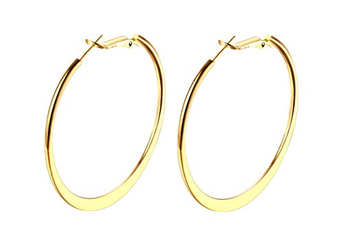 STAYJOY 18K Gold Polished Flattened Big Hoop Earrings with Omega Backs, Thick 2mm Round 2