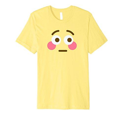 Unique Halloween Costumes For Two Friends (Mens Halloween Emoji Costume T-Shirt - Flushed Emoji Shirt Small Lemon)