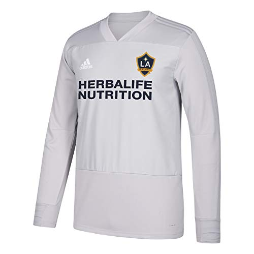 adidas LA Galaxy MLS Men's Grey Climacool Long Sleeve Training Jersey (M)