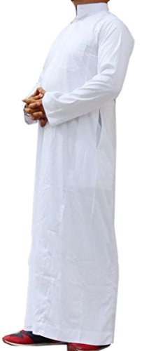 JXG-Men Casual Muslim Business Saudi Arabic Thobe Long Sleeve Dress Shirts White US M
