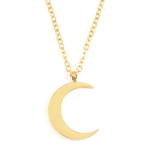 Happiness Boutique Half Moon Necklace Gold Color | Delicate Crescent Moon Pendant Necklace Minimalist - Pendant Crescent Moon Gold