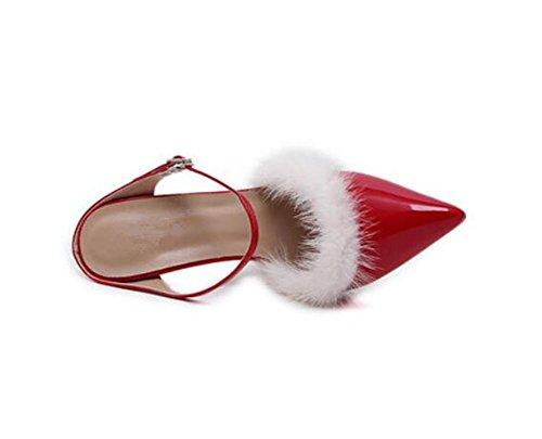 Party Dress chaussures de la couronne rTrue Ironwith chaussures à talons hauts aigu pointé chaussures , red , 37