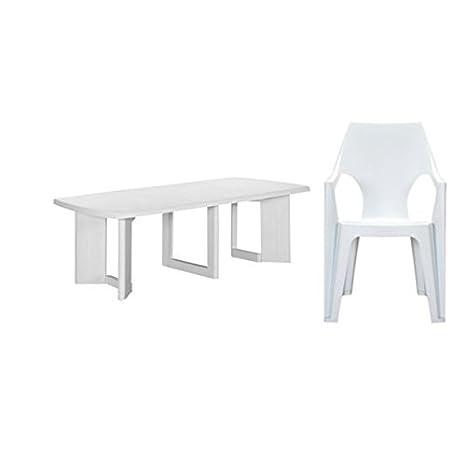 Allibert de new york table et chaise 260 dante (4x) blanc ...