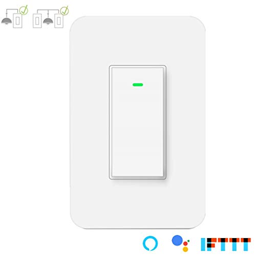 (3 Way Smart Wi-Fi Light Switch Plus, Single Pole/3 Way Switch, Works With Amazon Alexa Google Assistant & IFTTT,Remote Control, Timing Function No Hub Required(1-Pack))