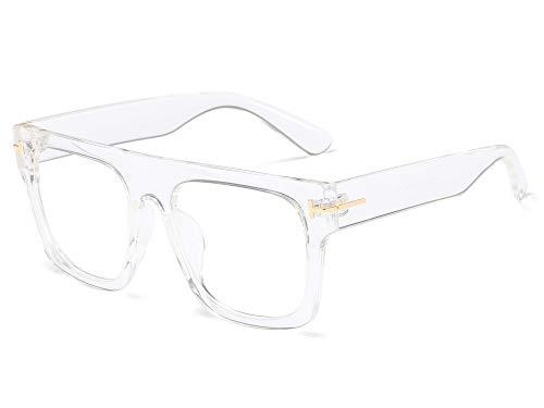 - Allt Unisex Large Square Optical Eyewear Non-prescription Eyeglasses Flat Top Clear Lens Glasses Frames (Transparent)