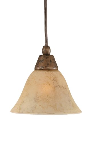 Toltec Lighting 22-BRZ-508 Cord Mini-Pendant Light Bronze Finish with Italian Marble Glass, 7-Inch