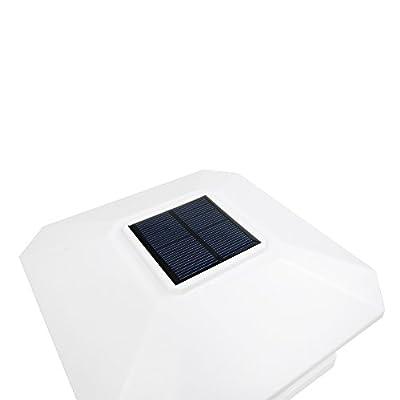 iGlow 1 Pack White Outdoor Garden 6 x 6 Solar SMD LED Post Deck Cap Square Fence Light Landscape Lamp PVC Vinyl Wood