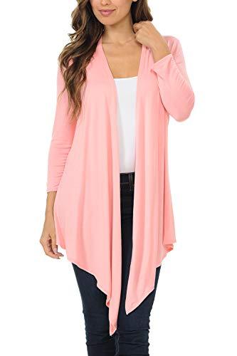 Shamaim Womens 3/4 Sleeve Open Fron Soft Drape Cardigan Pink Medium ()
