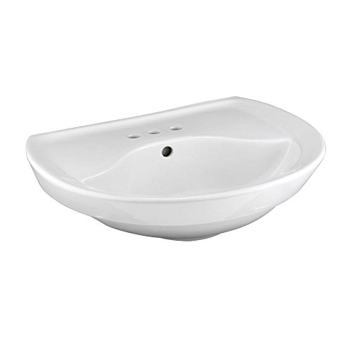 (American Standard 0268.004.020 Ravenna Pedestal Sink Basin with 4-Inch Faucet Spacing and without Towel Bar, White)