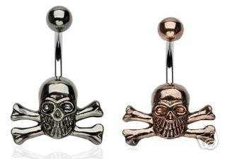 tngbodyjewelry.com AB Coated Hematite or Copper Skull Non-Dangle Belly Button Navel Ring with Matching Top Ball